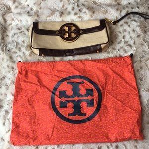 Tory Burch fabric and leather clutch
